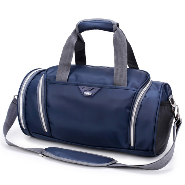 25l Solid Large Gym Bag Cylinder Nylon Waterproof With Shoes Pocket