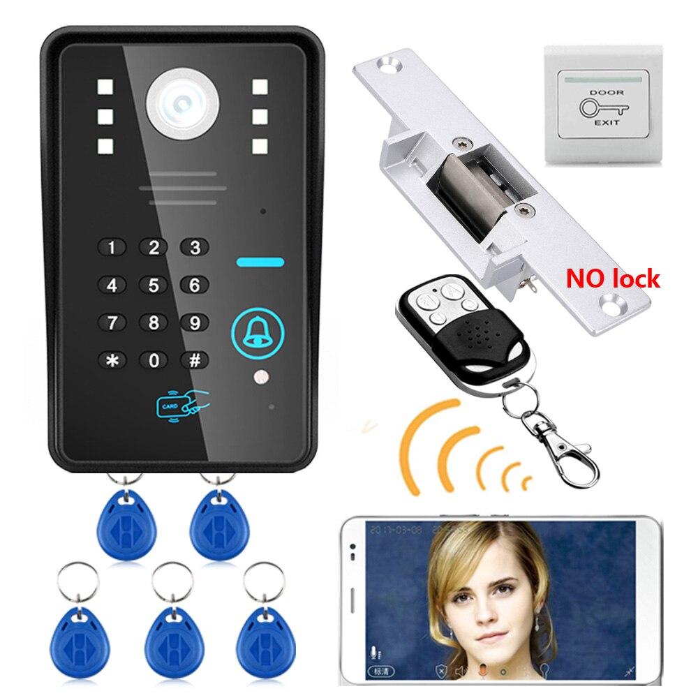 Wireless WIFI RFID Password Video Door Phone Intercom System Doorbell +Access Control System + NO Electric Strike Door Lock