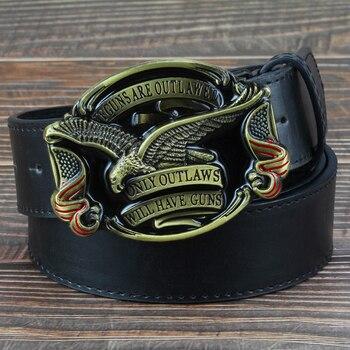 Fashion men jeans belt golden eagle belt US flag hawk American emblem Have Guns letter buckle cowboy waistband