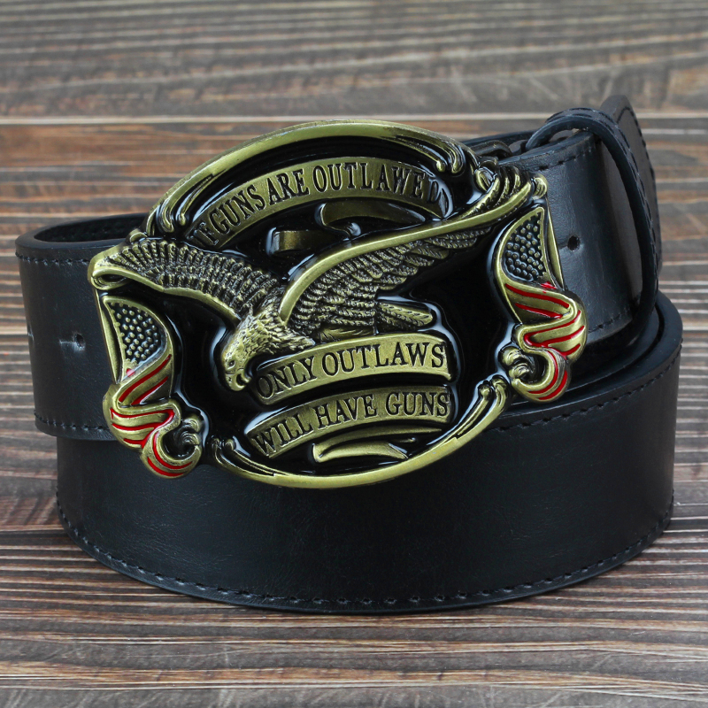 Fashion Men Jeans Belt Golden Eagle Belt US Flag Hawk American Emblem Have Guns Letter Buckle Cowboy Waistband