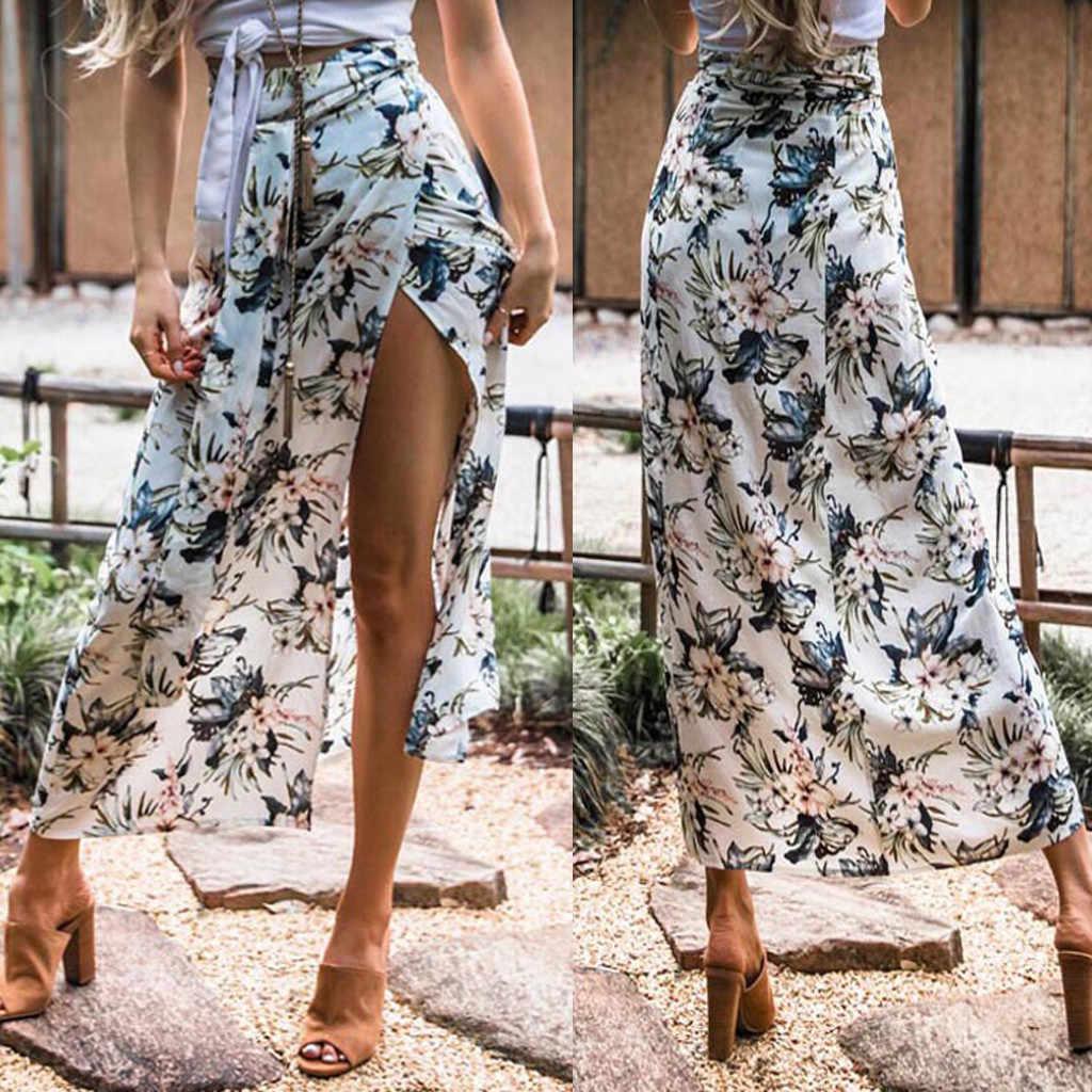 קיץ חצאיות לנשים גבירותיי נשים הצוענית ארוך ג 'רזי Bodycon מקסי חצאית גבירותיי פרח הדפסת חצאית