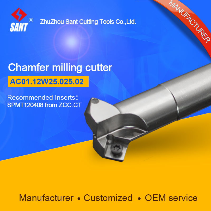 Refer To CMA01-025-XP25-SP12-02,AC01.12W25.025.02 Chamfer Milling Tools For Inserts SPMT120408