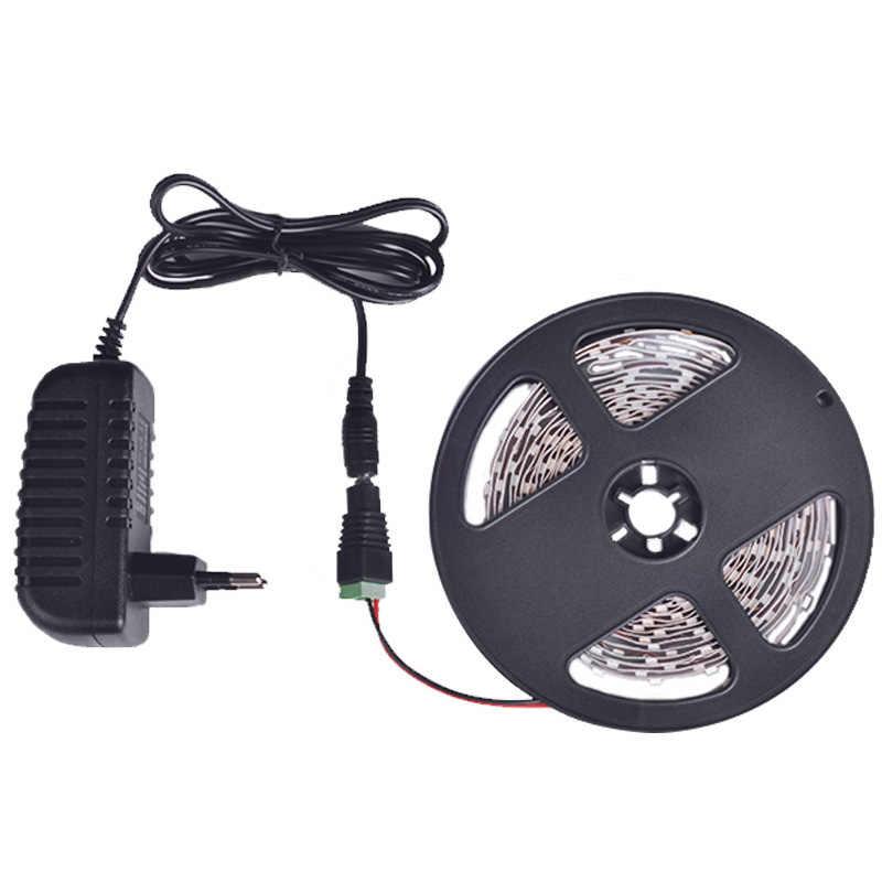 SMD 2835 taśma LED RGB wodoodporna 5 M 300 diod LED DC 12 V RGBW taśma LED elastyczne + zasilacz monochromatyczny pasek pełny zestaw