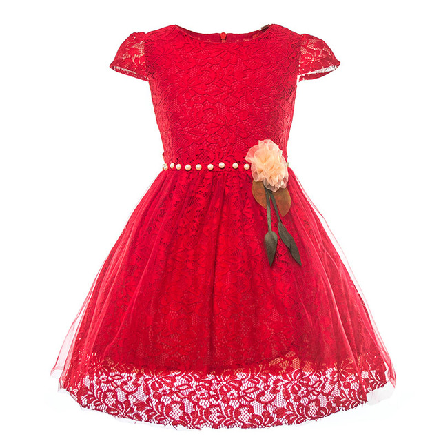 Kids Girls Lace Dress Children Short Sleeve Pearls Fancy Red Princess Dresses Baby Summer Party