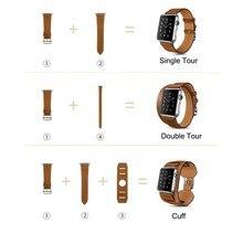 Новый 3 в 1 Пакет Одного Тура Двухместный Тур Манжеты Подлинной кожаный Ремешок Для Apple Watch 38 мм 42 мм С 1:1 Оригинальный Металла адаптеры