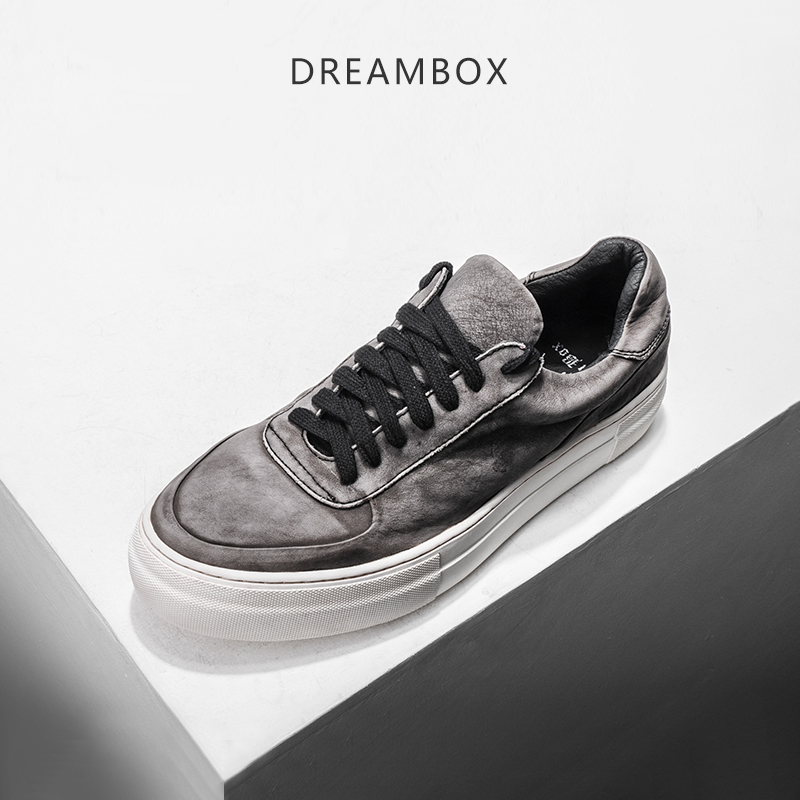 dreambox Summer European and American tide make old wear sand cow leather low help belt sports casual flat men's shoes llama llama sand and sun