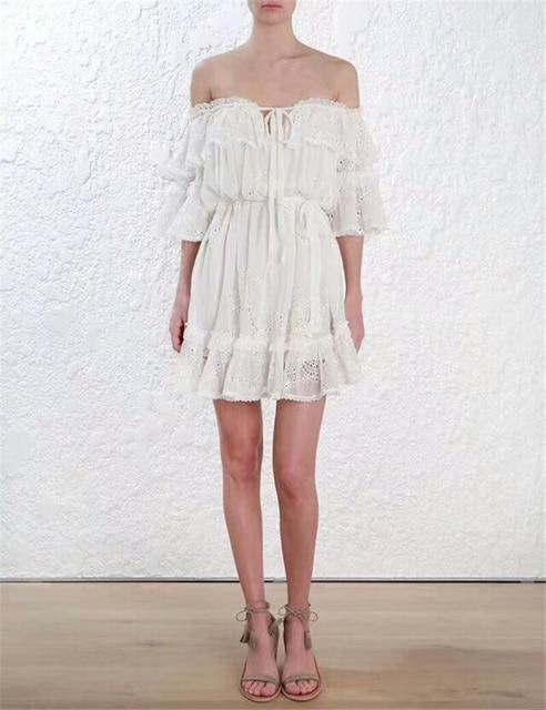 922022ad76 Topachic Ruffles slash neck women dress Summer style embroidery off  shoulder sexy dresses vestidos White tube beach dress cotton