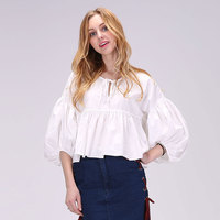 Dioufond Sweet White Blouse Three Quarter Pleated Ruffles Blouses Solid Short Shirt O-Neck Navy Flare Sleeve Cotton Blouse Shirt