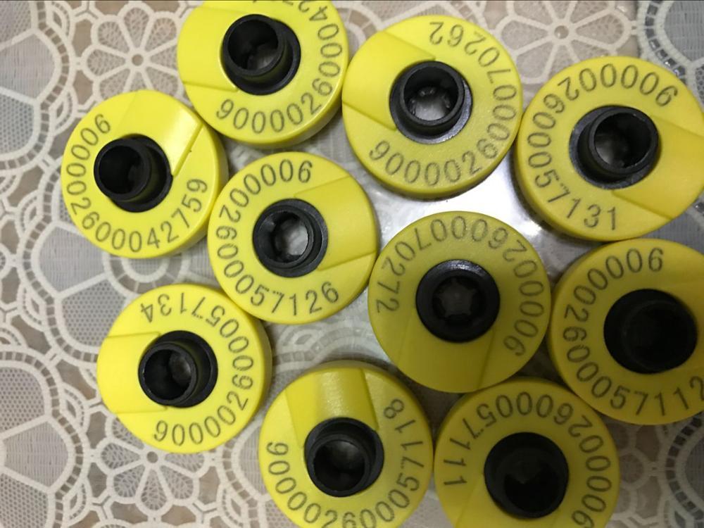 Étiquette d'oreille de READELL 134.2 khz ISO11784 ISO11785 rfid pour la gestion animale 100 pcs/lot de porc de mouton de bétail