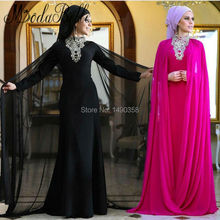 2017 High Neck Hijab Long Sleeve Crystal Evening Dress With Cape Kaftan Fuchsia Black Formal Dress Women Robe Musulmane Soiree
