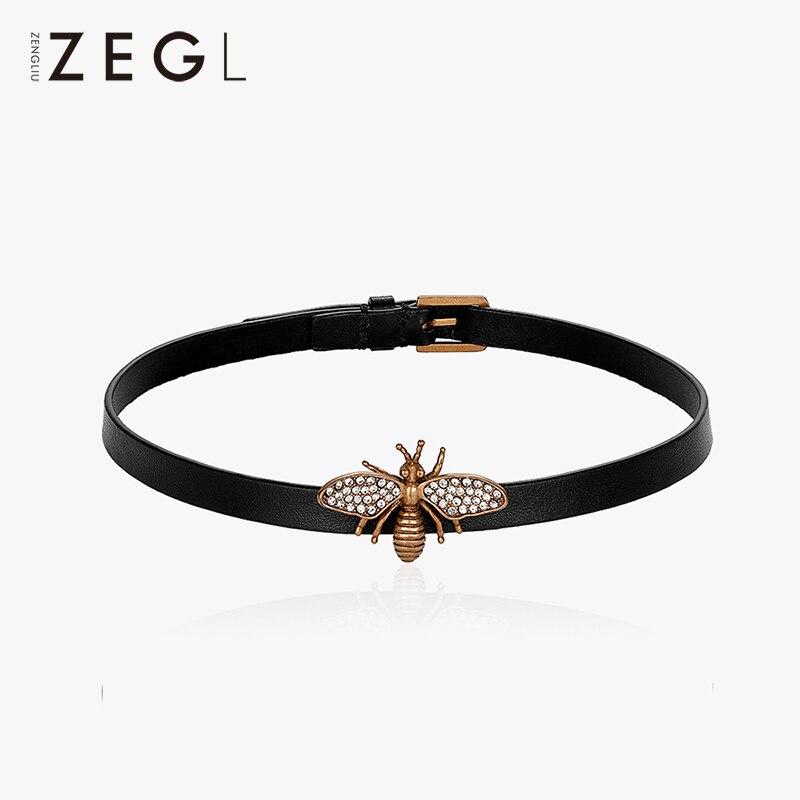 ZEGL النحل قلادة الإناث الأسود سلسلة قصيرة تصل إلى عظمة الترقوة الأزياء قصيرة المال دائرة الجلود قلادة حبل-في عزم الدوران من الإكسسوارات والجواهر على  مجموعة 1