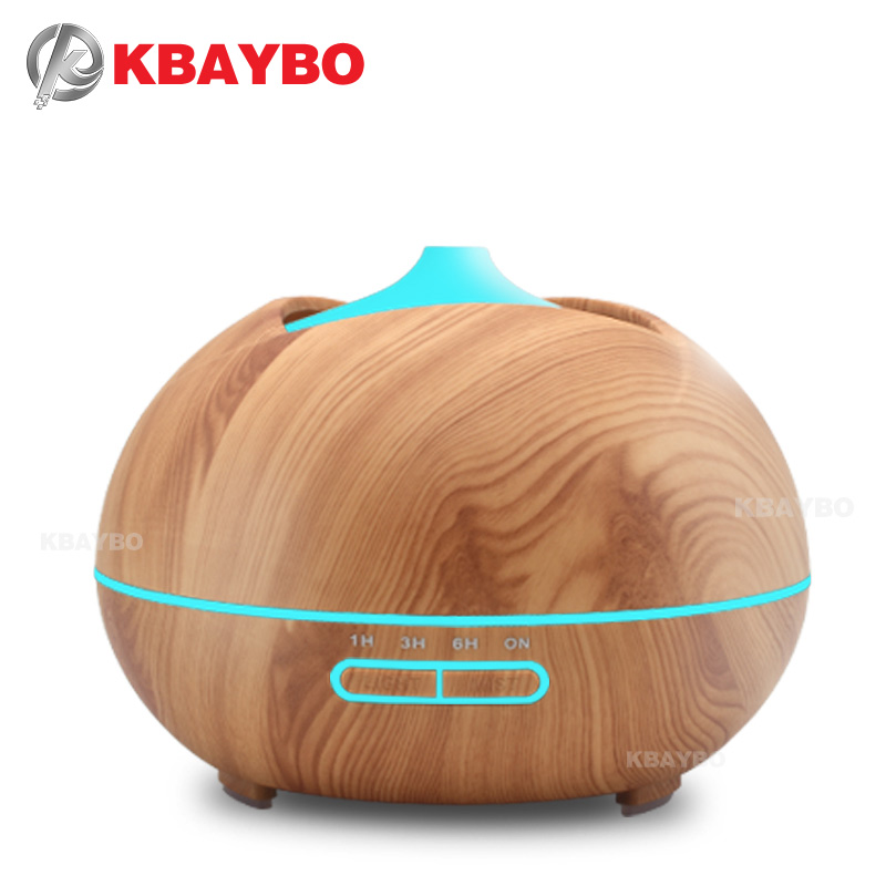 Aroma Essential Oil Diffuser Ultrasonic Air Humidifier with Wood Grain 7 Color Changing LED Lights for Office Home Bedroom 400ml