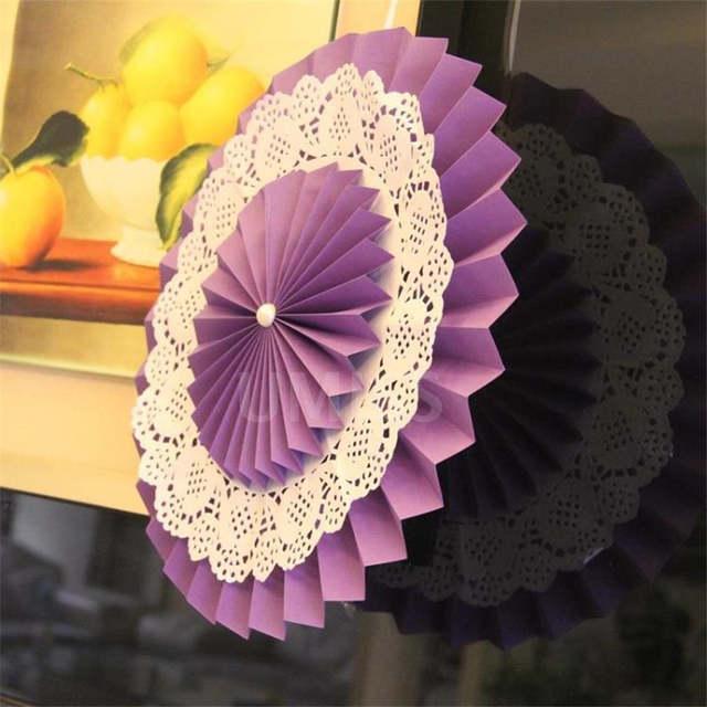 Online Shop Wholesale Paper Fan Flowers Double Deck Three
