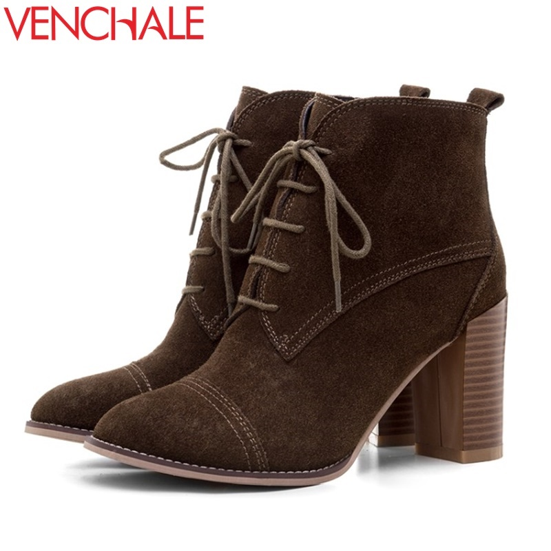 VENCHALE fashion ankle boots woman matte leather good quality laced up round toe shoes high heels 2017 winter party new booties front lace up casual ankle boots autumn vintage brown new booties flat genuine leather suede shoes round toe fall female fashion