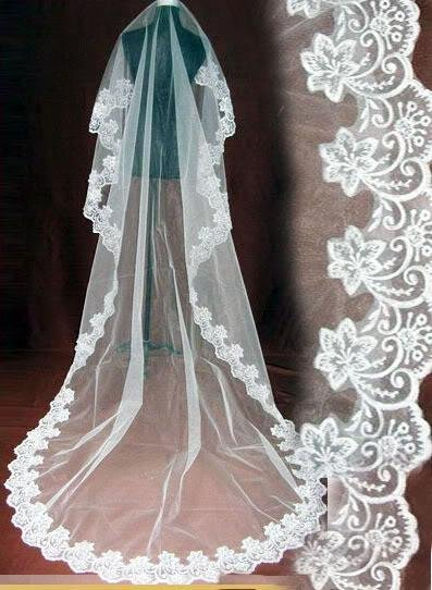 In Stock Wholesale Price Top Quality Ivory/White Tulle Lace Bridal Accessories One Layer Bridal Veil Wedding Veil