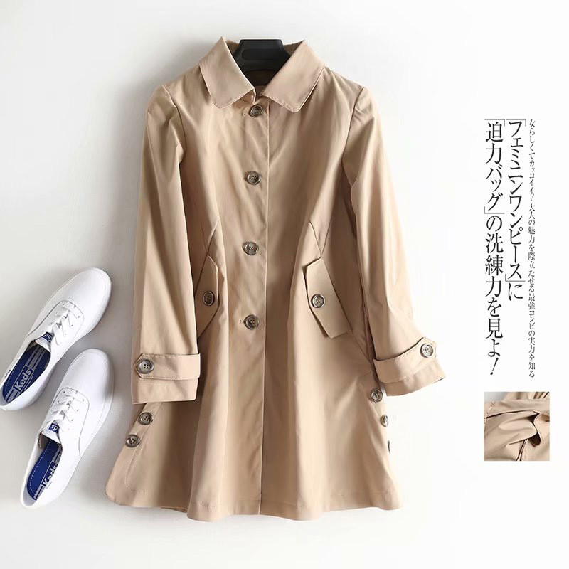 Vintage Single Breasted OL   Trench   Coat Women 2018 New Fashion Lapel Long Sleeve Ladies Overcoat Casual Casaco Feminino