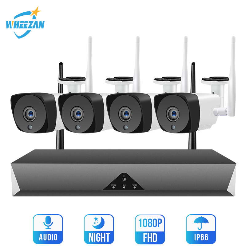 Wheezan cctv camera system 1080P wifi NVR 4CH Audio security Camera kit Outdoor P2P Danale 1TB