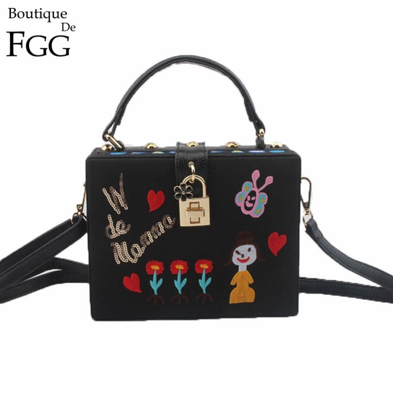 ФОТО Famous Brand Women Fashion Cartoon Printing Embroidery Shoulder Handbags Box Clutch Totes Bag Ladies Black PU Crossbody Bags
