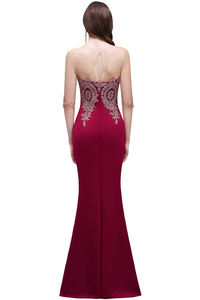 Image 2 - Robe de Soiree Longue Cheap Lace Half Sleeve Mermaid Burgundy Evening Dress Sexy Sheer Back Appliques Evening Gowns