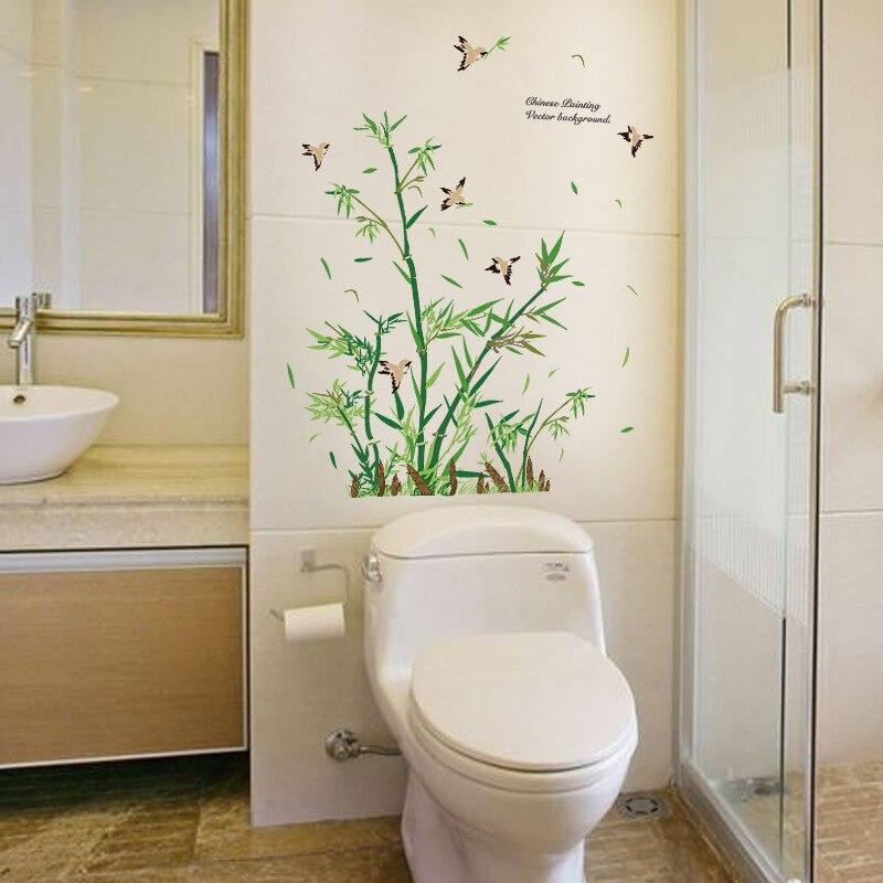 Style Chinois Bambou Vinyle Wall Sticker Salon Chambre Salle De Bains  Décoration Oiseaux Porte En Verre Décor À La Maison Arbre Stickers Muraux  Autocollants ...