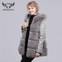 BEIKALIDI Для женщин натуральным лисьим мехом пальто натуральном овечьем кожа пальто лисий меховой воротник с капюшоном Для женщин зимняя курт