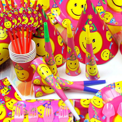 Childrens Birthday Party Supplies Smiley Baby Decoration Items Big Smile Theme Happy 60pcs Set