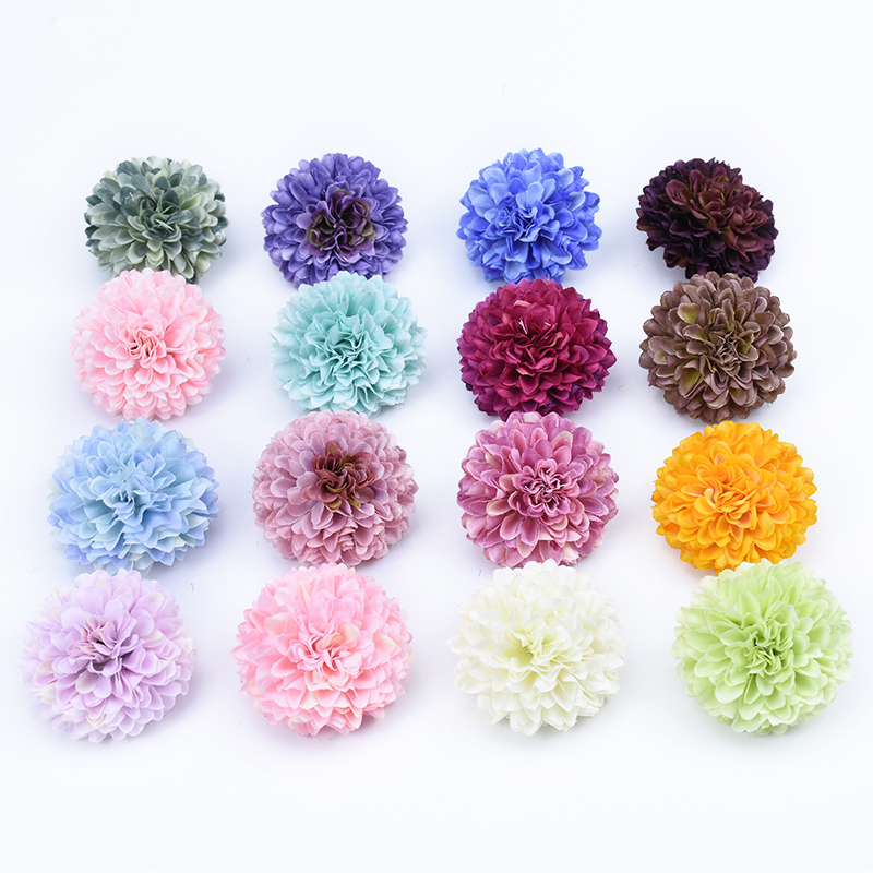 10pcs Ornamental flowerpot New Year Christmas home decorations DIY gifts box silk Carnation artificial flowers wall scrapbooking