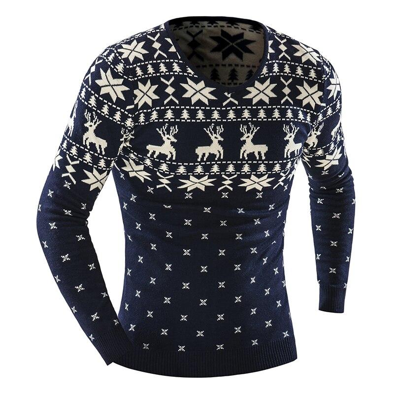 2017 Autumn Winter Pullover Men Christmas Sweater Jumper V Neck Deer ...