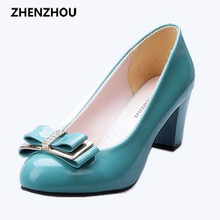 free shipping 2016 Women's shoes Work shoes spring and autumn bow low low-heeled shoes thick heel casual female leather
