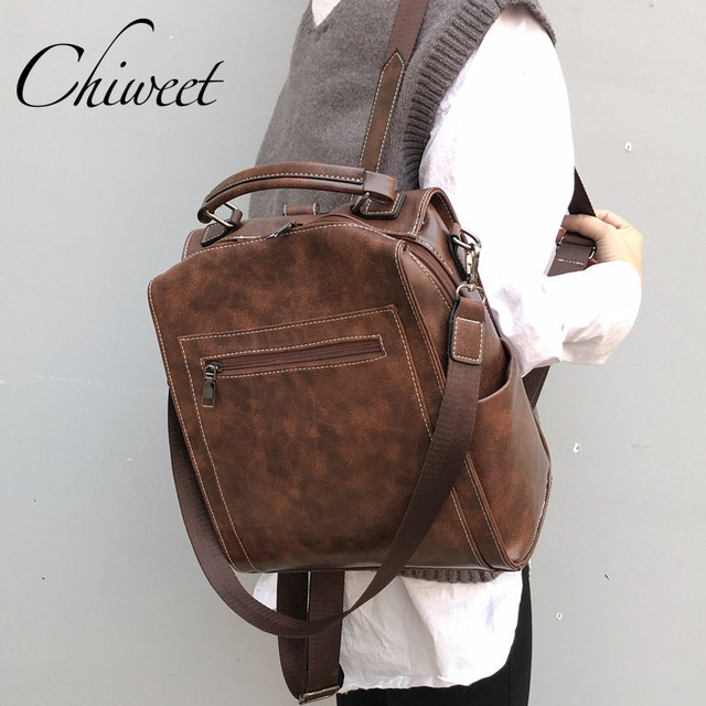 Women Designer Leather Backpack Casual Large Handbags For Student Female Vintage Computer Bags Travel Wide Strap