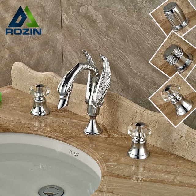 Modern Widespread Swan Basin Sink Faucet Dual Handle Chrome Bathroom ...
