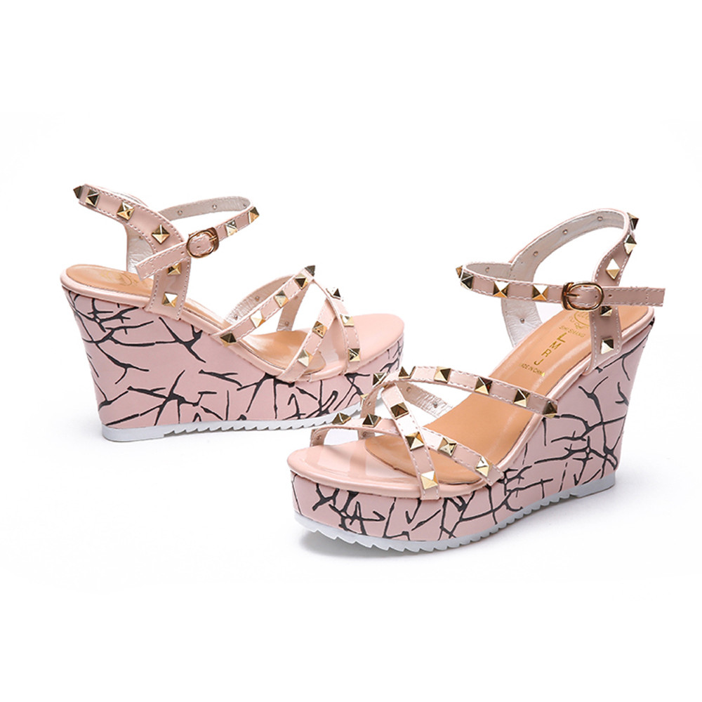Zapatos Mujer 2018 Shoes Woman Sandals Wedge Summer Lady Fashion High Heels Sandals Elegant Rivets Women Shoes Platform Wedges 20