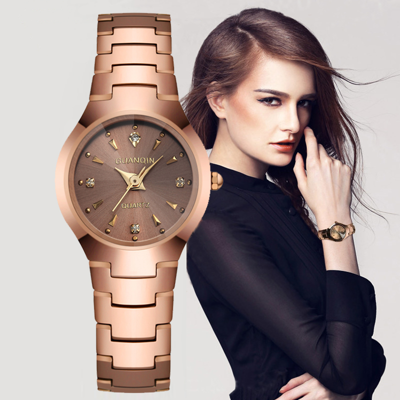 ФОТО Watch Women GUANQIN Brand Fashion Causal Tungsten Steel Watchband Relogio Quartz-watch Waterproof Relogio Feminino Montre Femme
