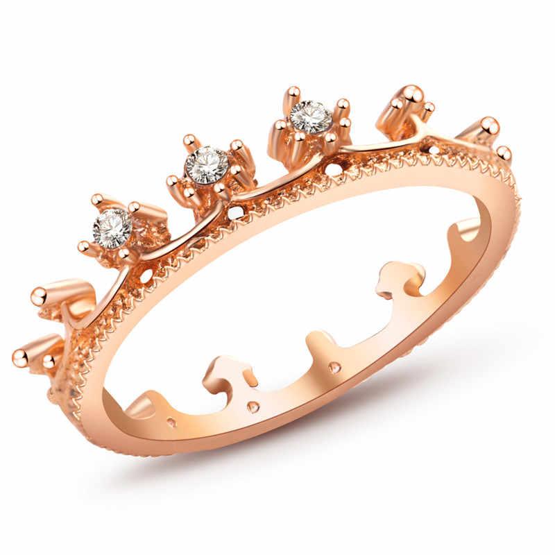 Autêntico cor de ouro branco minha princesa rainha coroa anel design anéis de casamento para jóias femininas nz290