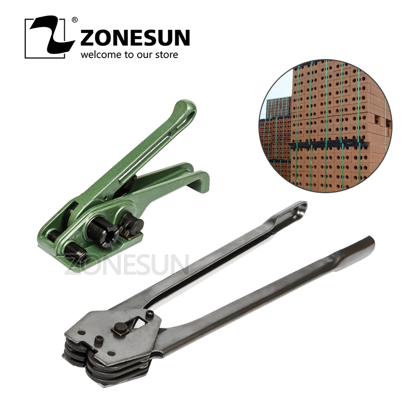 ZONESUN Manual Strapping Hand Tool Packaging machine Plastic Belt Bundling Machine PP PET Strap Tensioner and Sealer zonesun long hand pp pet plastic strapping cutter for pp pet strapping belt band tensioner and sealing max cut 16mm