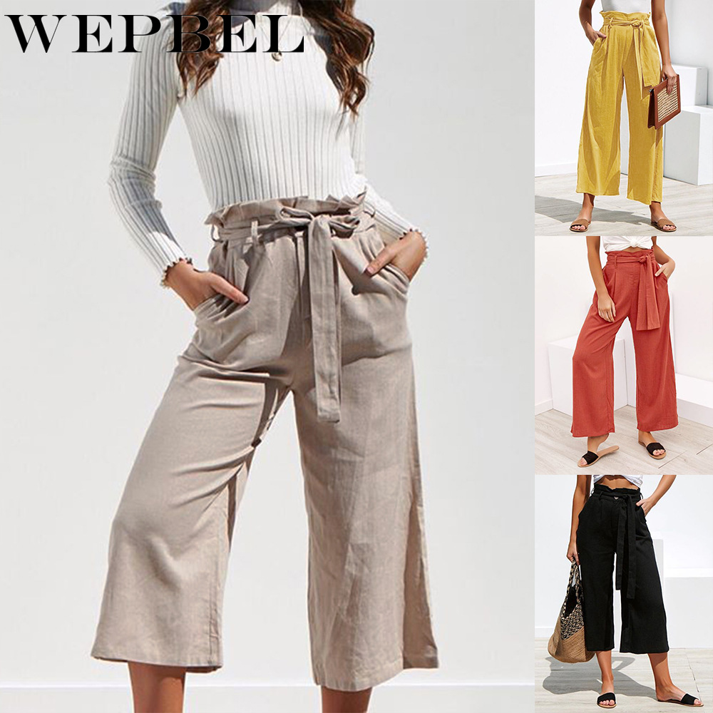WEPBEL Women Summer Cotton Linen   Wide     Legs     Pants   Solid Color Casual High Waist Loose Trousers With Sashes