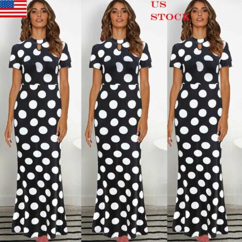 Новая мода повседневное для женщин в горошек Макси платье выпускного вечера Вечеринка летнее пляжное повседневное длинное