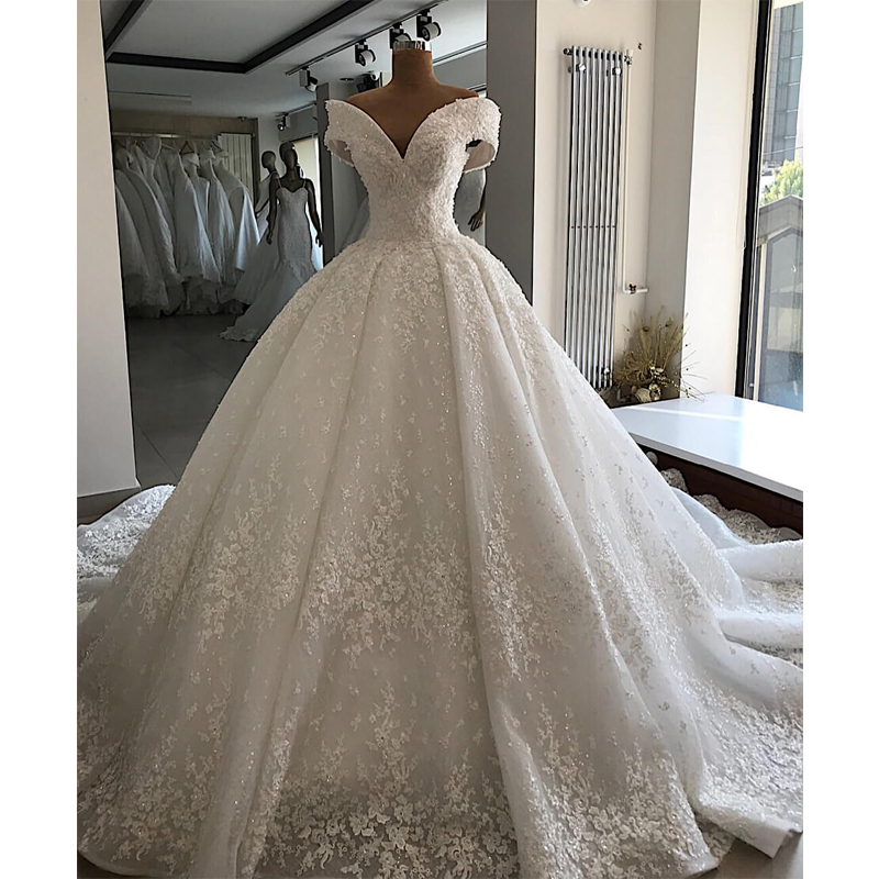 Robe De Mariee Luxury Customized Appliques Beading Wedding Dress 2019 Off The Shoulder Lace Up Wedding Gowns Chapel Train Dress