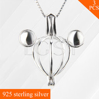 925 Sterling Silver Mickey Locket Necklace Pendant Hollowed Skeleton Cage Pendant 3pcs
