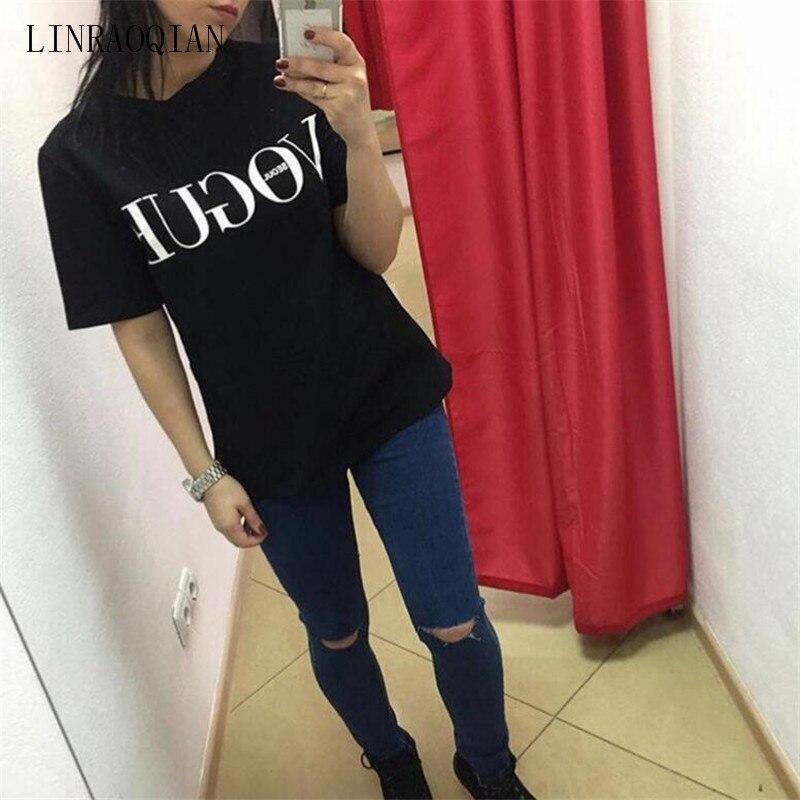 b71f62ac63 Maglietta 2017 di Marca di Estate Top Abbigliamento Moda per le Donne VOGUE  Stampata Lettera Harajuku Maglietta femminile Rosso Nero T Shirt Camisas in  ...