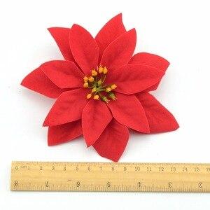 Image 5 - 10 stücke 14cm Flanell Große Künstliche Rose Blume Köpfe Für Home Hochzeit Dekoration Scrapbooking DIY Weihnachten Baum Seide Blumen