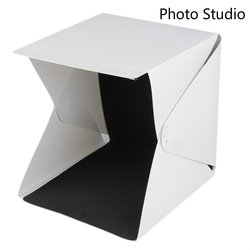 30CMX30CMX30CM Portable Mini Folding Studio Diffuse Soft Box With LED Light Black White Background Photo Studio Accessories