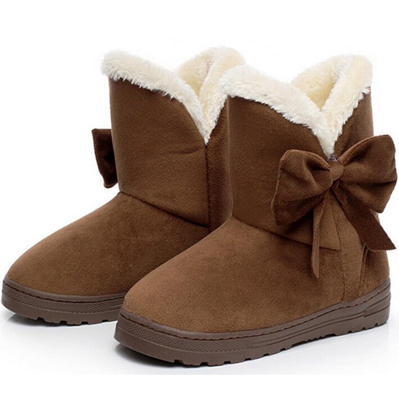 2016 NEW Women Boots Warm Winter Snow Boots Suede Ankle Boots Bowtie Thick Plush Inside Waterproof Botas Mujer Fur Insole Free  2017 new women snow boots winter fox fur boots suede leisure shoes thick warm short boots plush girls fashion boots black brown