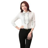 Chiffon Women Blouses Turn Down Collar Long Sleeve Plus Size XXXL 4XL Femininas Tops Sky Blue