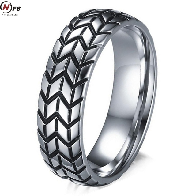 NFS 6MM Mens Tire Ring Vintage Stainless Steel Wedding Rings For Male Engagement Band Jewelry Car