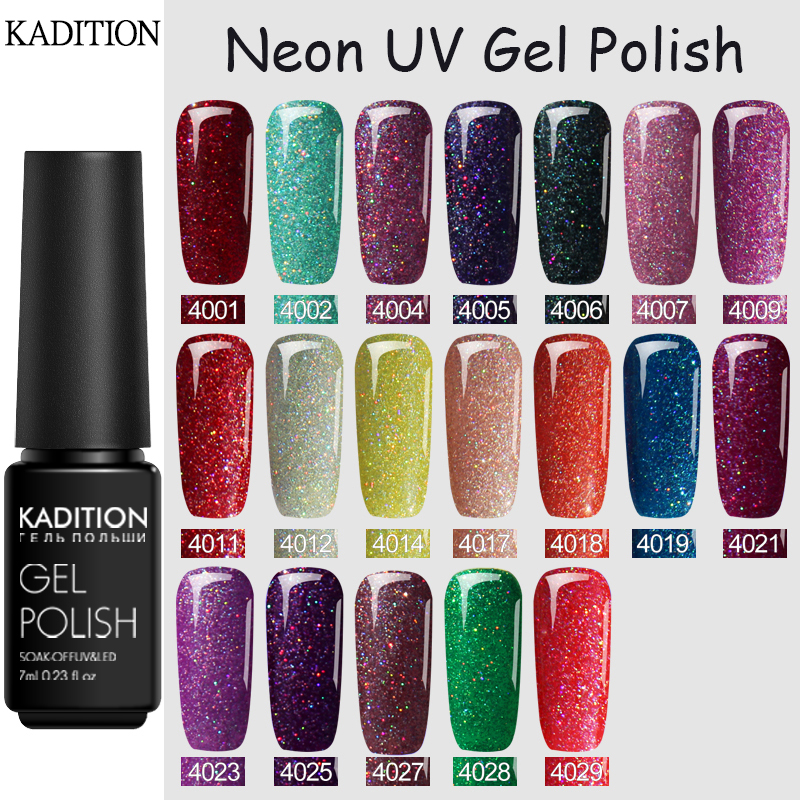 KADITION Rainbow Nail Gel Sequin Starry Sky Glitter Semi Permanant Uv Neon Nail Gel Polish Varnish For Manicure Lucky Lacquer