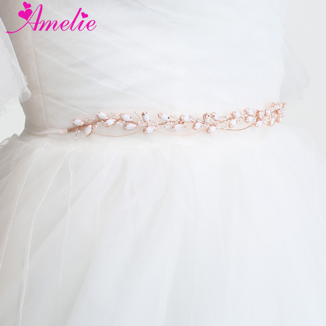 Rose Gold Color Wedding Dress Accessories Resin Stones Hair Vine Rhinestone Chain Bridal Headpiece Dancing