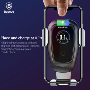 Baseus Qi Wireless Car Charger For iPhone 11 Pro Xs Max X 10w Fast Car Wireless Charging Holder For Xiaomi Mi 9 Samsung S10 S9 1