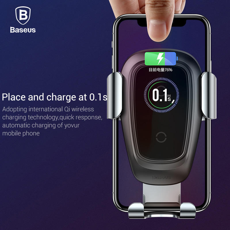 Baseus Qi Wireless Car Charger For iPhone Xs Max X 10w Fast