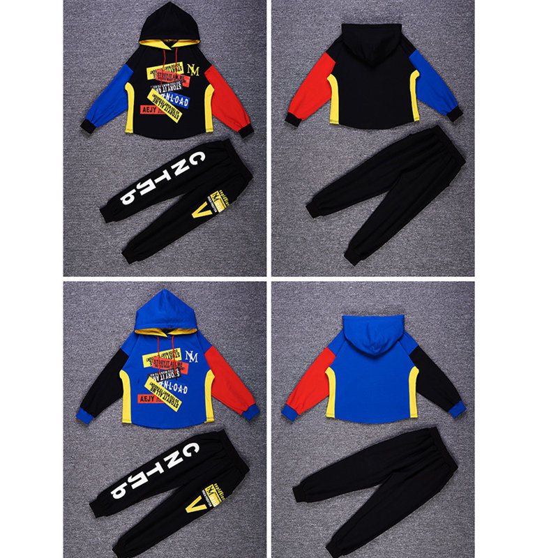 Image 2 - Autumn Boys Clothing suit 2 pieces suit hooded + Pants Sets big Boys Sportwear Sets Tracksuit Outwear hoodie 6 8 10 12 14 YearsClothing Sets   -